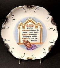 Vtg Serenity Prayer Plate 18k Gold Accents Made Japan Scalloped Edge EUC Clean