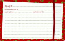 Green & Red Polka Dot Christmas Recipe Cards & Red Ribbons - Set of 20 - New