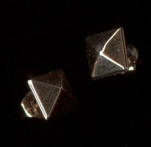 10K Fine Solid Rose Gold 6mm Square Pyramid Stud Earrings pb