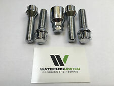 4 x M14x1.5 Wheel Locking Bolts, Tapered Seat, 17/19mm Hex, 60mm Thread Length