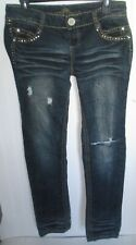 Womens Almost Famous Jeans Sz 9 Rhinestone Accents Very Good distressed