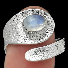Adjustable - Rainbow Moonstone 925 Sterling Silver Ring s.8.5 Jewelry E862