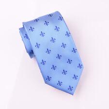Blue Italian Fleur-De-Lis Designer Tie 8cm Necktie Mens Florentine Floral Style