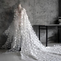"1 yard 3D Chiffon Circle Embroidery Yarn Lace Fabric Lady Wedding Dress 59"" Wide"