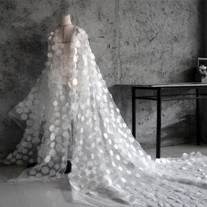 1 Yard 3D Chiffon Circle Embroidered African Lace Fabric Lady Wedding Long Dress