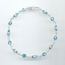 Dainty Sterling Silver Anklet w/Swarovski Aquamarine Crystals & Rondelles