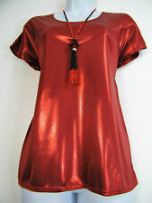 SALOOS RED STRETCHY METALLIC SPARKLY CAP SLEEVED CAMI TOP&NECKLACE SIZES 12-22