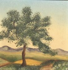 Vintage oil painting tree landscape