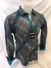 Mens BARABAS Designer Shirt Woven TEAL ABSTRACT MULTI COLOR Print Button Up 9018