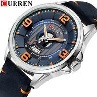 CURREN Men Luxury Army Military Stainless Steel Quartz Leather Sport Wrist Watch