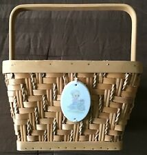 Precious Moments Wicker Basket with Porcelain Tie-On Ornament Girl on Bicycle