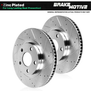 Front Drilled & Slotted Brake Rotors For Mercedes-Benz E500 E550 4Matic