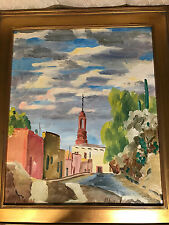 """Large Anton Albers """"Church Steeple Scene"""" Oil On Canvas Painting - Signed/Framed"""