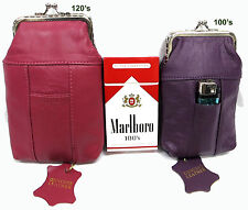 2pc 2 Size Soft Leather Cigarette Case Purple 100s+120s Black Brown HotPink Red