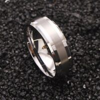 8mm Tungsten Carbide Ring Silver Brushed Center Silver Mens Wedding Band Jewelry
