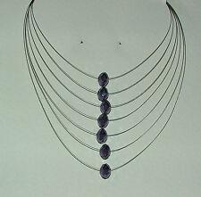 Multi Strand SILVER PLATED collana con riga viola sfaccettato CRYSTAL BEADS