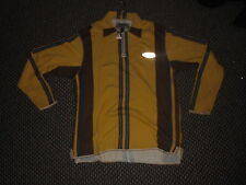 Haviton Large Mens Yellow Brown Blue Casual Long Sleeved Collared Zip Up Top