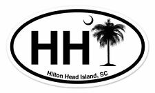 HH Hilton Head Island SC South Carolina Oval car window bumper sticker decal 5""