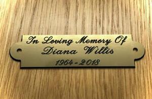 Brass or Silver Effect Personalised Engraved  Plaque 90 x 25 mm