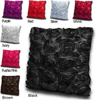 "22"" (55 cm) Satin Effect 3D Rose Sofa Scatter Bed Cushion Cover + FILLED Option"