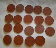 Set of 19 Opa Red Point 1 Ration Tokens All Different Letters World War II