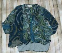 ANU by Natural Wool Cardigan Sweater Small Medium Teal Art to Wear Lagenlook