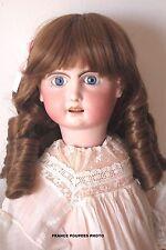 """perruque BOUCLES Jumeau®châtain33/34.5cm-poupée ancienne-Tête biseau-doll wig13"""""""