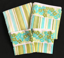 Tex Made Bed Sheet Set Flat Fitted 2 Pillowcases Green Striped Floral Texmade