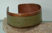Ostrich Leather & Copper Cuff Bracelet, Hand Crafted by Usa Metalsmith Artisan