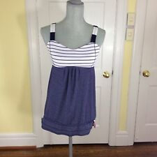 LULULEMON RUN BACK ON TRACK TANK QUIET STRIPE HEATHERED NAVY 6 No Pads
