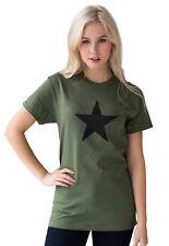 Black Star T Shirt Retro Graphic Yoga Vintage Khaki Printed Womens Mens T-Shirt