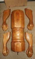 """6 Piece Wood Pedestal Base Oak Finish 8"""" Large Dining Table Mounting Plate Parts"""