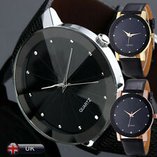 Luxury Fashion Men's Watch Quartz Sport Faux Leather Stainless Steel Watch Dial