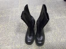 STEVE MADDEN SZ 8 B  KINKO BLACK ROUND HIGH HEELS LEATHER BOOTS