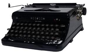 Antique 1938 Royal Model O Touch Control Portable Typewriter w/ Original Case