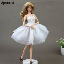 White Lace Short Dress for Barbie Doll Clothes Princess Evening Party Gown 1/6