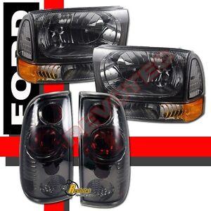 1999-2004 Ford F250 F350 Super Duty Pickup Headlights Corner & Tail Lights Smoke
