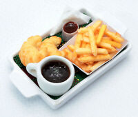 Dollhouse Miniature Food Croissant, French Fries and Coffee,Tiny Food 1:12 Scale