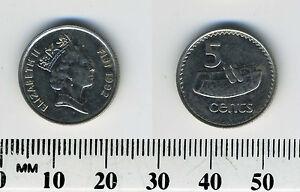 Fiji 1992 - 5 Cents Nickel Plated Steel Coin - Elizabeth II - Fijian drum - lali