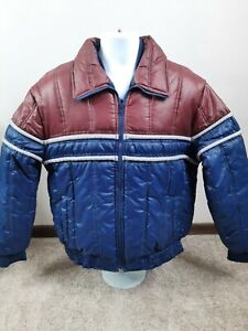 Vintage 70s 80s Retro Striped Multi Color Snap Puffer Nylon Jacket Ski Skate XL
