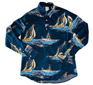 Brooks Brothers Regent Men's Sailing/Regatta Blue Half Button-Down Shirt; Size M