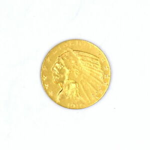 1910 $5 INDIAN HEAD HALF EAGLE 90% GOLD COLLECTIBLE US COIN F-VF DETAILS