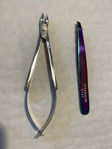 2-PCs 1/4 Jaw Cuticle Nipper+Slant Eyebrows Tweezers Titanium