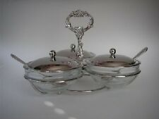 Teatime 3 Bowl Jam Condiment Server Decorative Handle Tray glass bowls