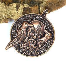 gr. Odin Amulett BRONZE Lederschnur Raben Hugin Munin Wikinger Germanen Talisman