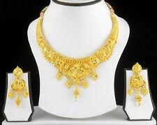 UK Indian Bollywood Gold Plated Jewelry Fashion Wedding Necklace Earrings Set 17