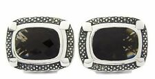 Natural Gem Stone Smokey Quartz 925  Sterling Silver Men's Cufflinks Oxodised