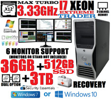 🚩6-Monitor Trading Computer Xeon I7 (12-Processor) 3.33Ghz🚩36Gb🚩512Gb Ssd+3Tb