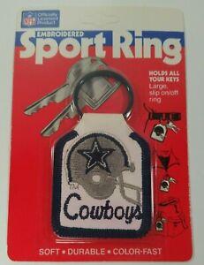 Vintage 1987 Dallas Cowboys Football Embroidered Sport Key Ring Keychain