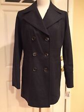 Michael Kors Coat Peacoat Trench Wool Blend Double Breasted Charcoal 6